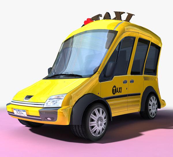 3D cartoon taxi model
