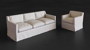 3D eichholtz cliveden sofa chair model