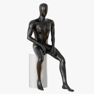 faceless male mannequin sitting 3D model