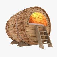 3D wooden barrel bed model