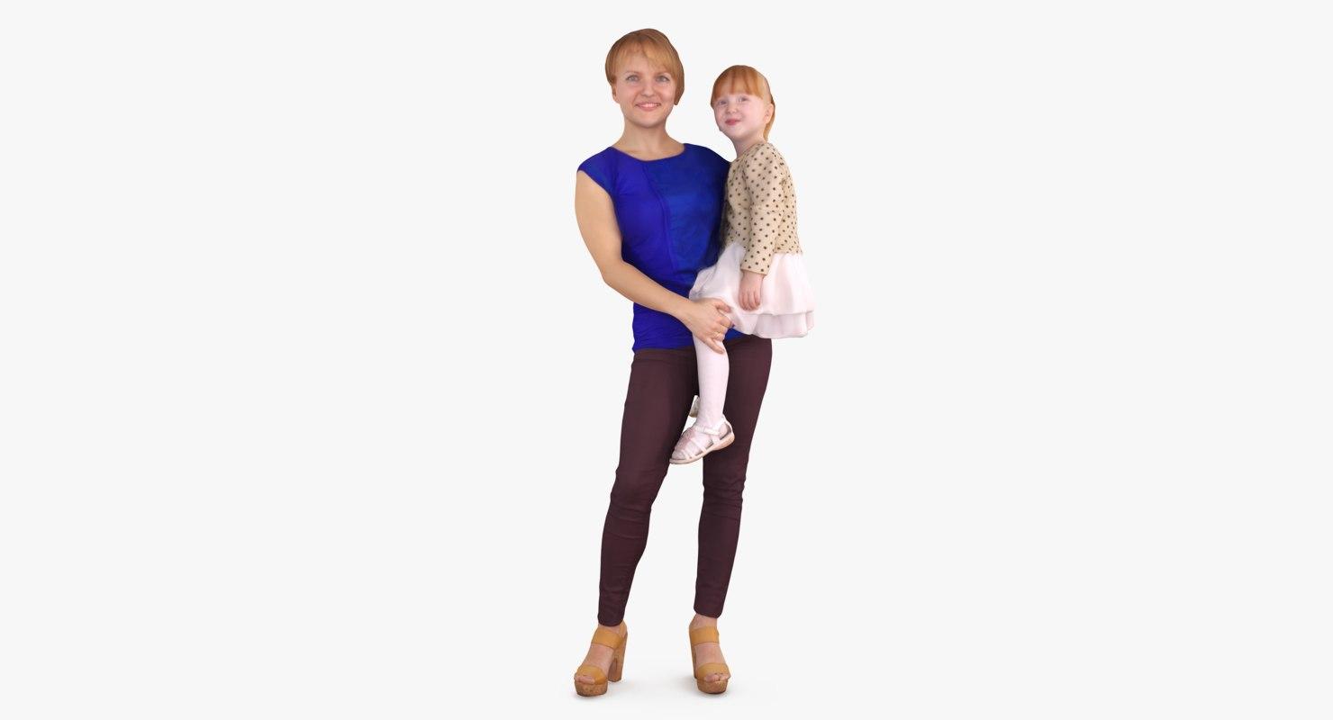 daughter mom people human 3d max