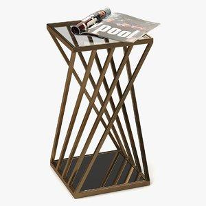 coffee table metal glass 3D