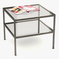 3D model coffee table metal glass