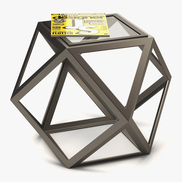 3D coffee table metal glass