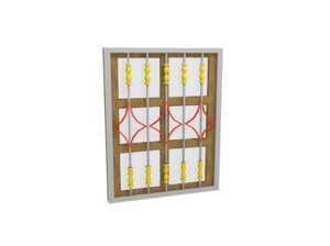 3D curved steel wooden window model