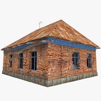 3d old russian abandoned brick house model