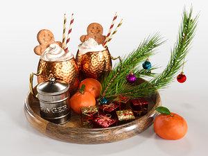 3D tray gingerbread ginger model