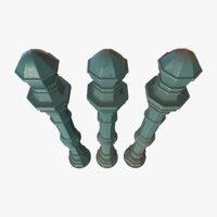 barrier bollard pack 2 3D model