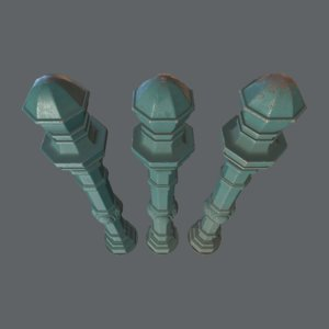 barrier bollard pack 2 3D model