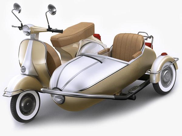 3D generic retro scooter model