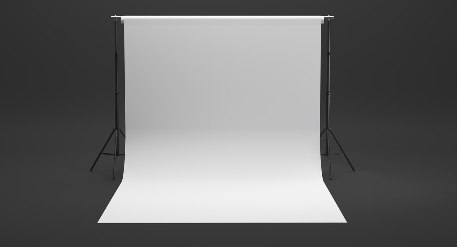 3D photo studio white backdrop model