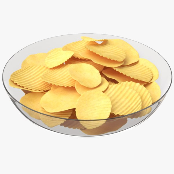 3D potato chips plate model