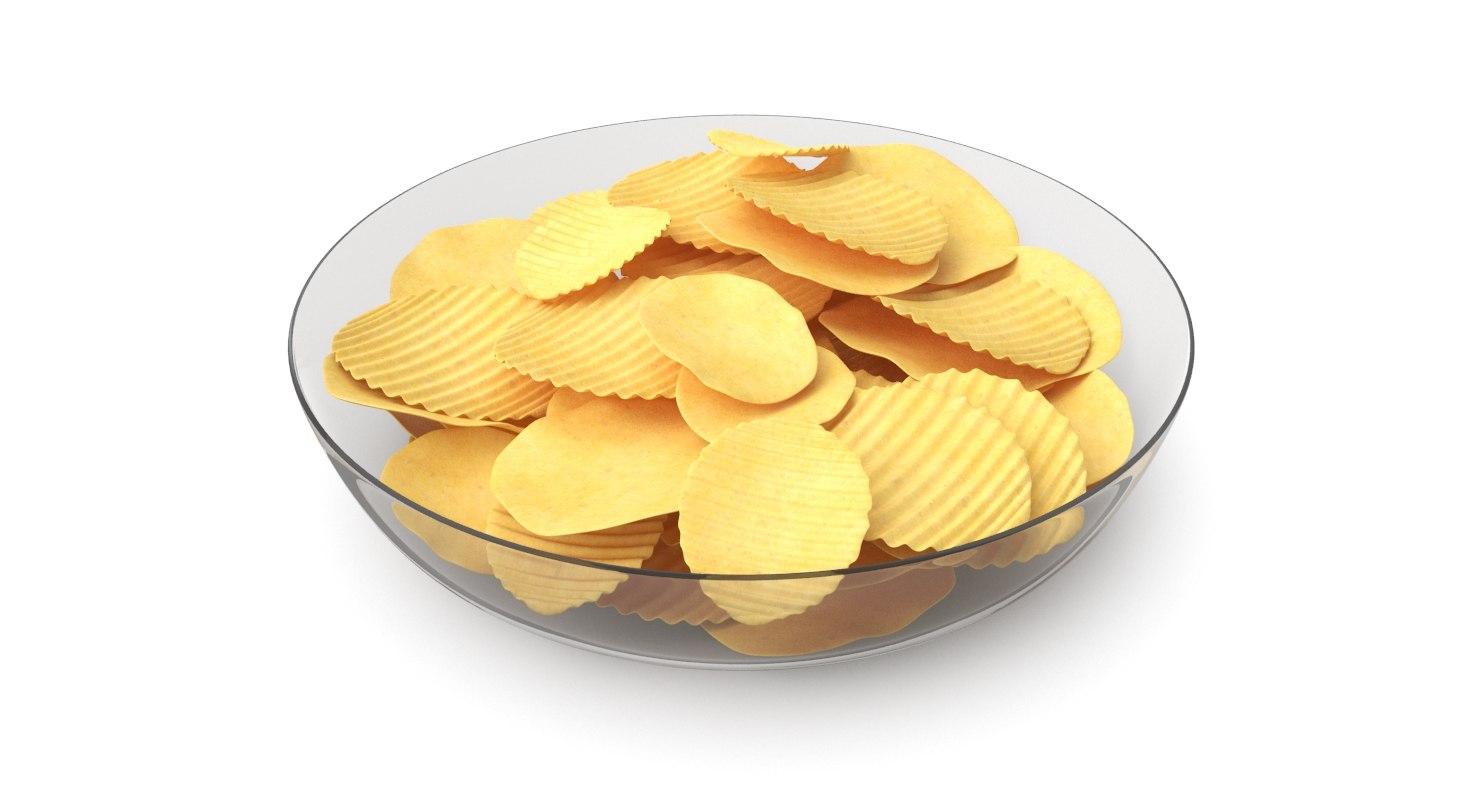 3D potato chips plate model