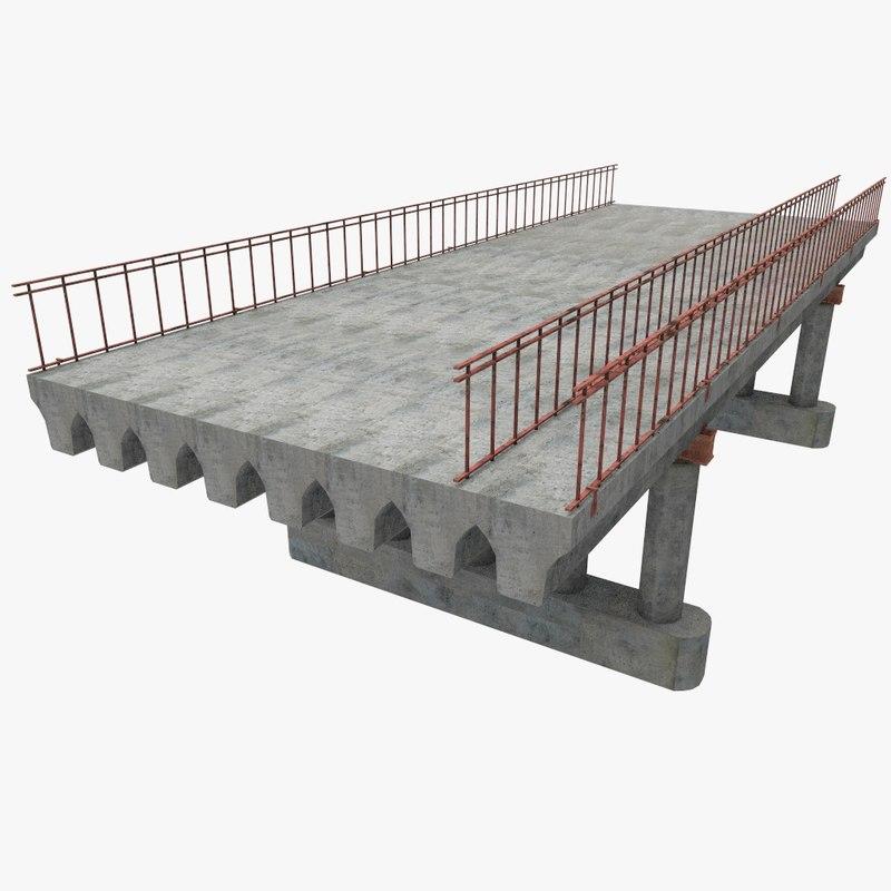3d concrete bridge blocks model