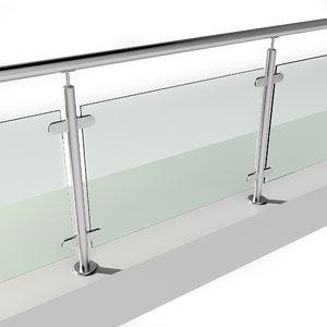 stainless steel railing 3D model