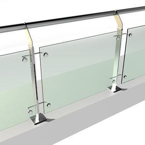 3D stainless steel railing model