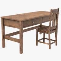 old table chair 3D