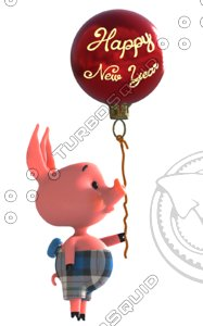 happy new year pig 3D model