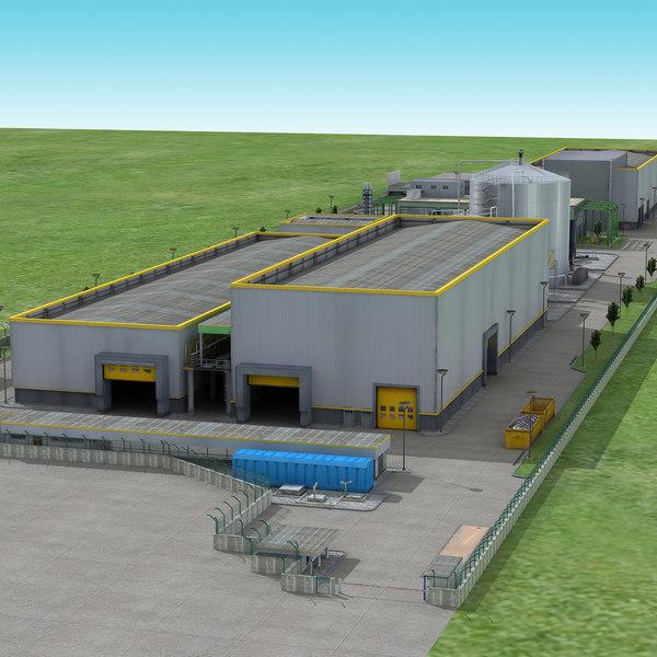3D industry factory building model