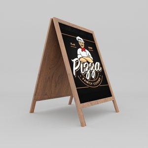 3D restaurant pizza board