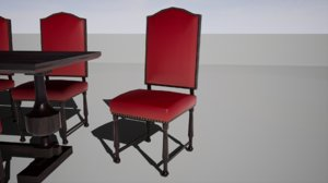 furniture cranberry peony chair wood 3D model