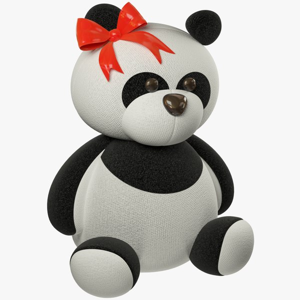 3D stuffed toy panda model