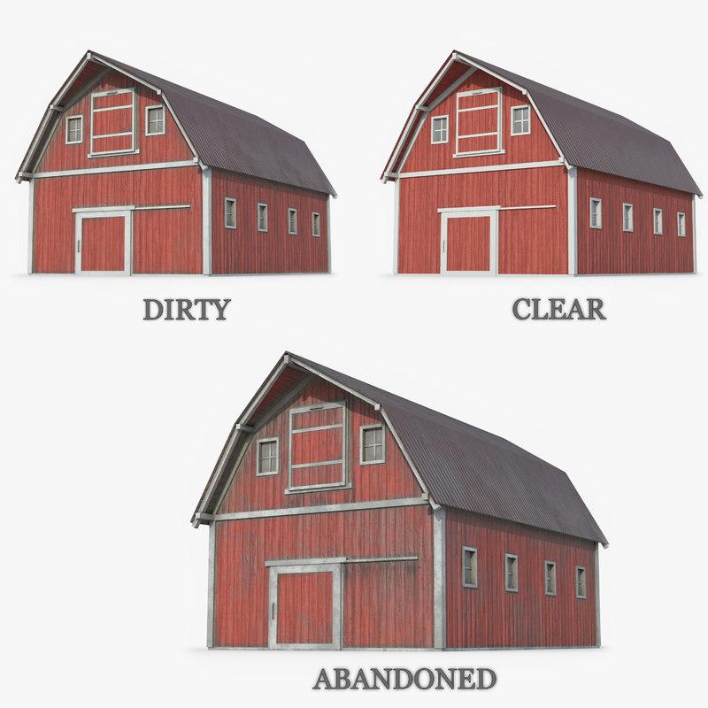 3D ready red barn model