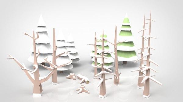 winter trees polys model