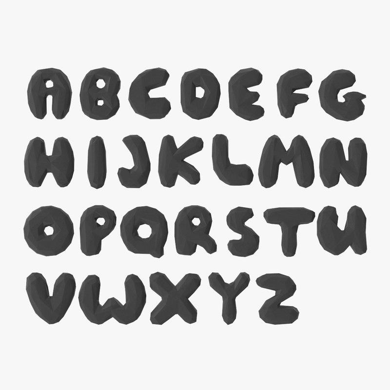 stylized alphabet 3D model