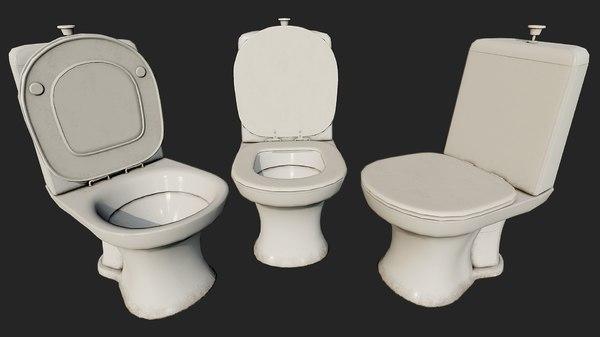 3D dirty toilet pbr decoration