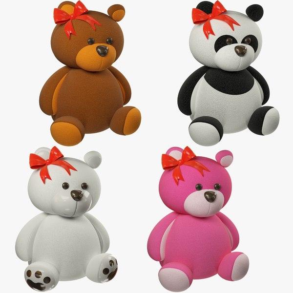 3D set stuffed bears toy