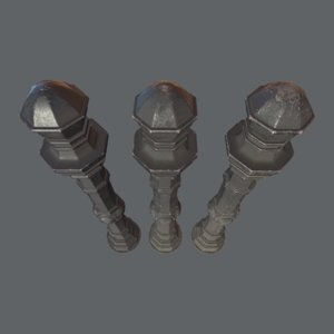 3D barrier bollard pack 2 model
