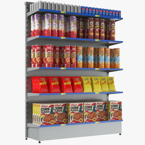 3D supermarket shelves