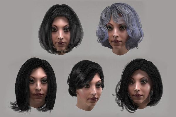 female hair 10 options 3D