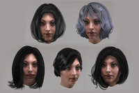 female hair 10 options 3D