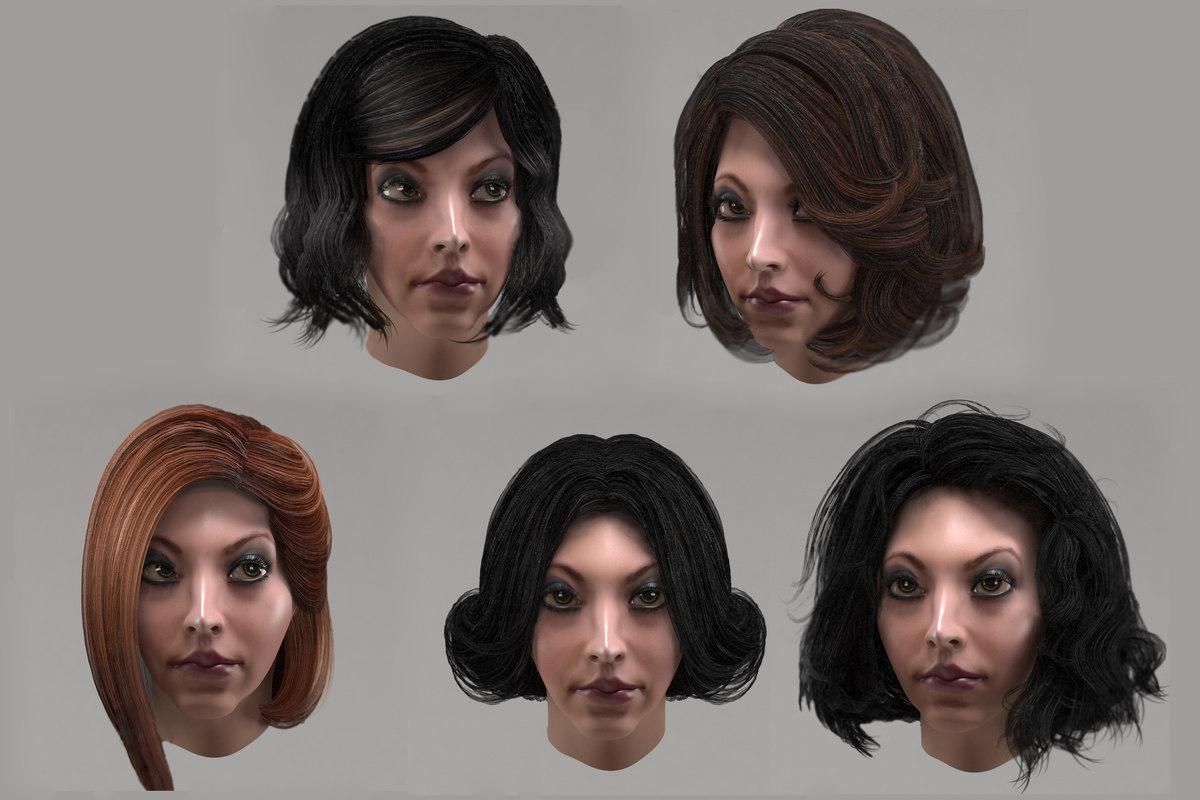 Female Hair 10 Options 3d Turbosquid 1361579