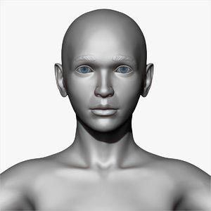 realistic woman base mesh model