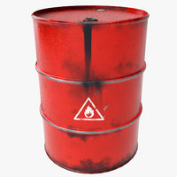 3D model red oil barrel