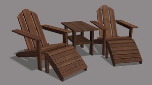 adirondack lawn set chair 3D model