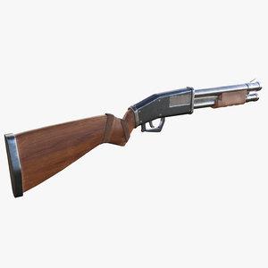 stylized pump shotgun 3D model