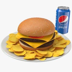 3D burger meal chips