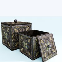 3D golden ancient box decoration model