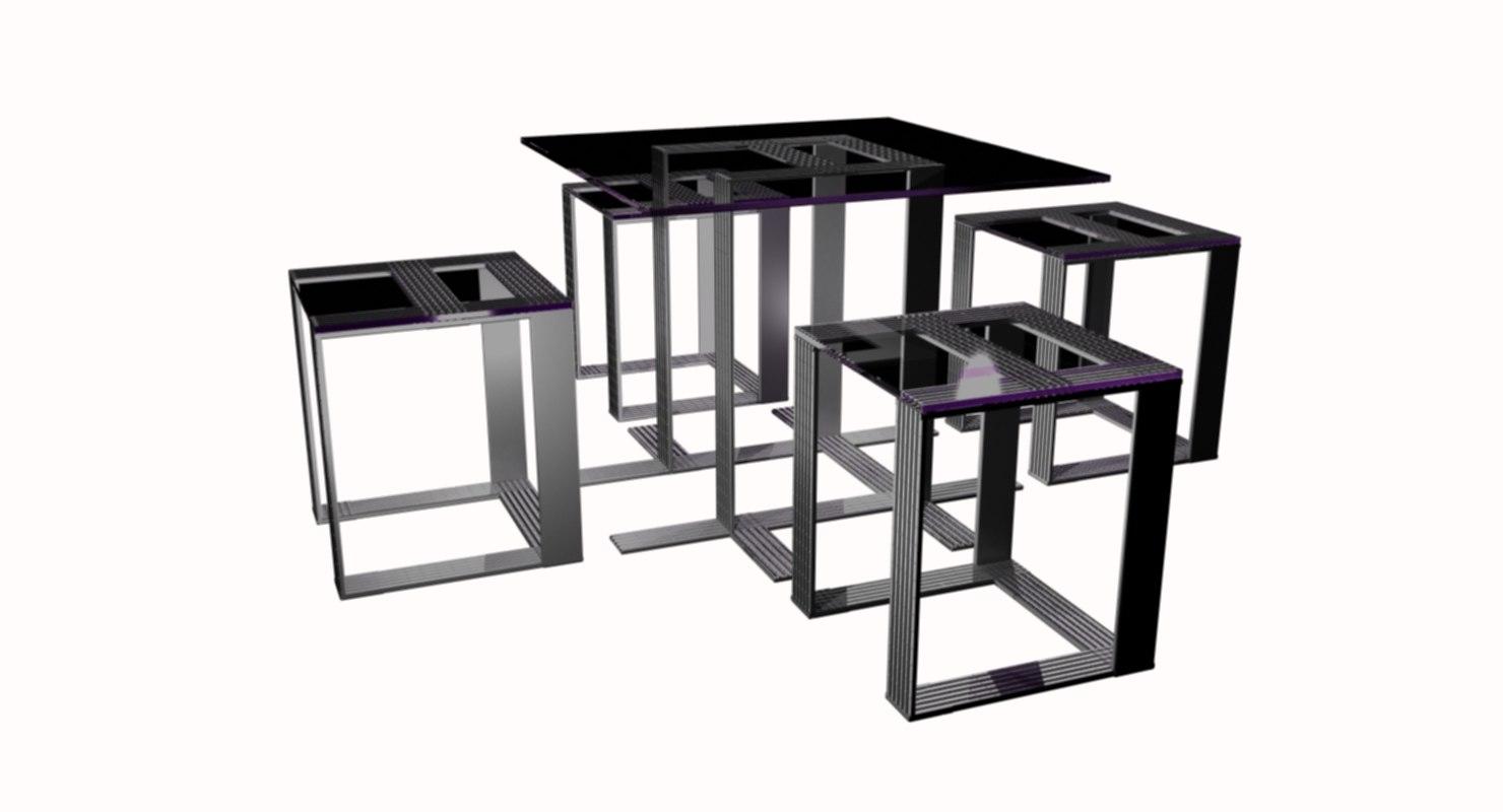 set table glass model
