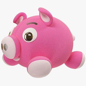 3D pink stuffed pig