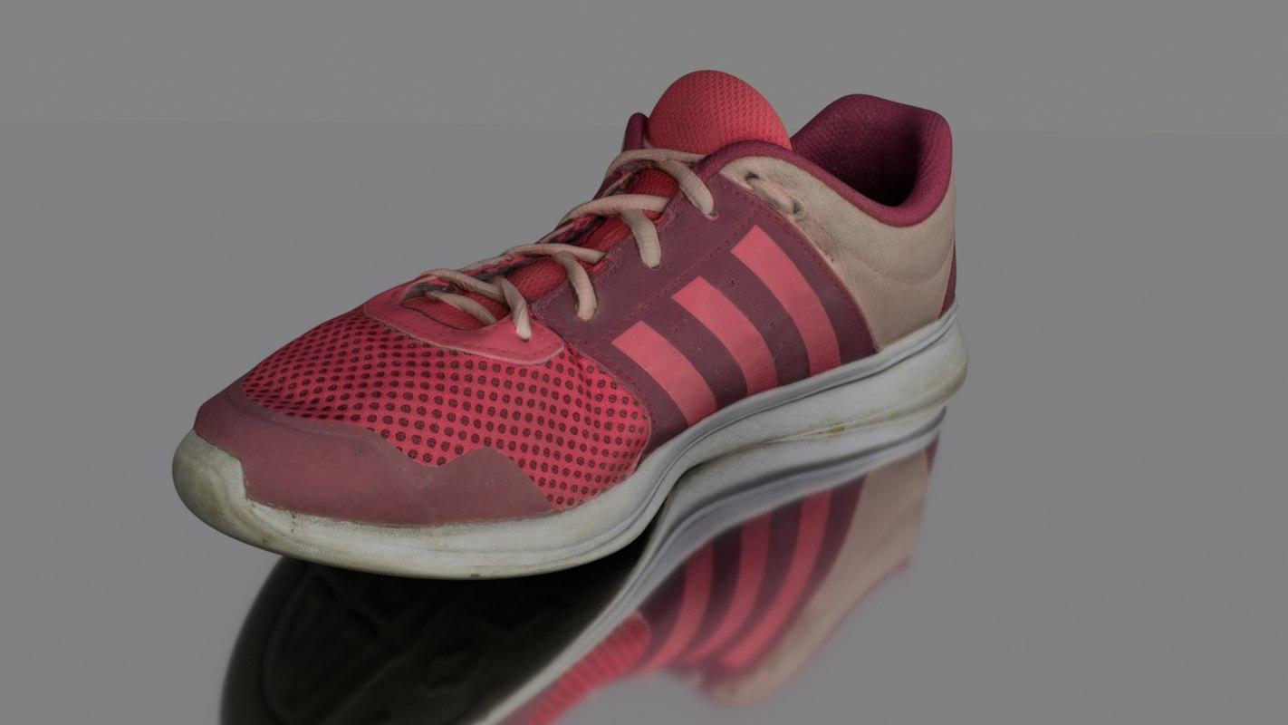 3D worn sneaker model