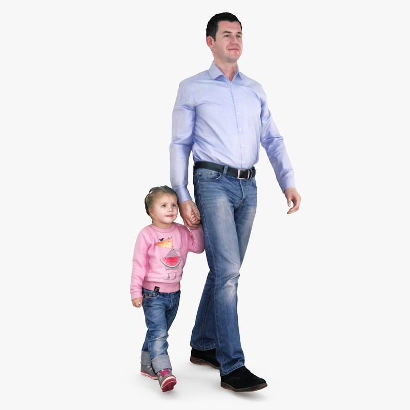 3d father daughter walking people model