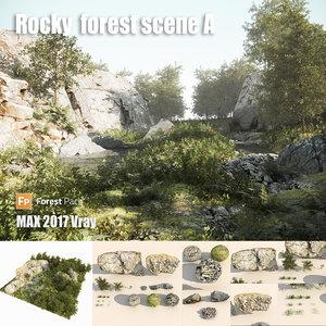 rocky forest scene 3D model