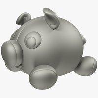 3D model stuffed pig