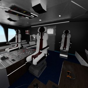 3D airbus airplane cockpit interior model