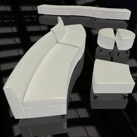 curved leather sectional bench 3D